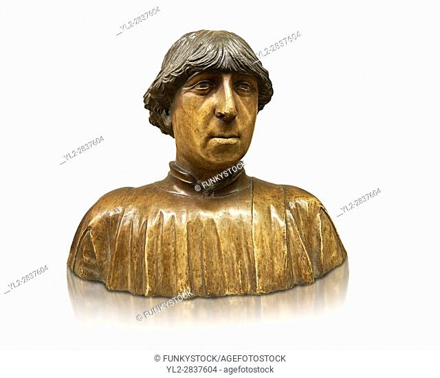 Painted marble bust of Ferdinand of Aragon, King of Naples (1423-1494) from the â. œPorta Salvatoreâ. . Sulmona, Italy. Variously attributed to Pietro do Milano...