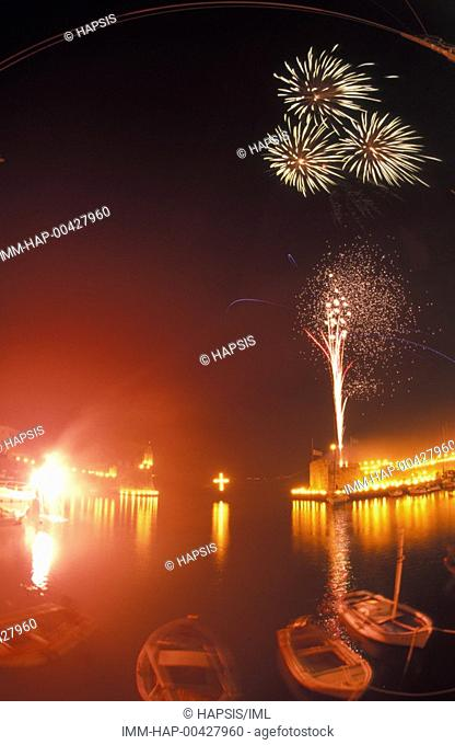 Easter, lighted torches placed on the fortress, fireworks Nafpaktos, Central Greece, Greece