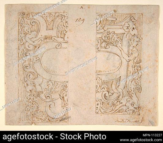 Designs for Cartouche (recto and verso). Artist: Ascribed to Bernardino Poccetti (Italian, San Marino di Valdelsa 1548-1612 Florence); Date: 1548-1612; Medium:...