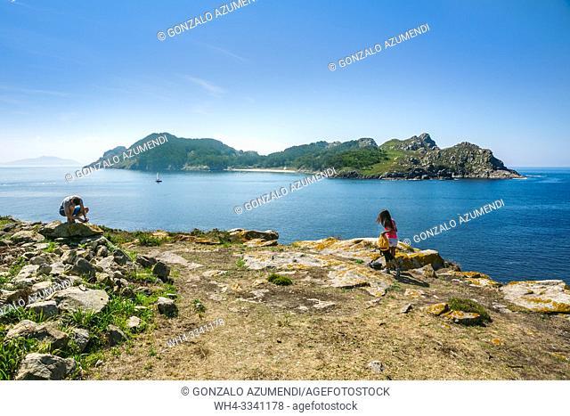 View of San Martiño Island from O Faro Island. Cies Islands. Atlantic Islands of Galicia National Park. Vigo estuary. Rias Baixas. Pontevedra province