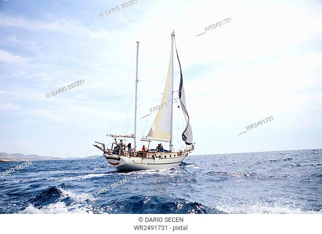 View of Adriatic Sea with sailing ship