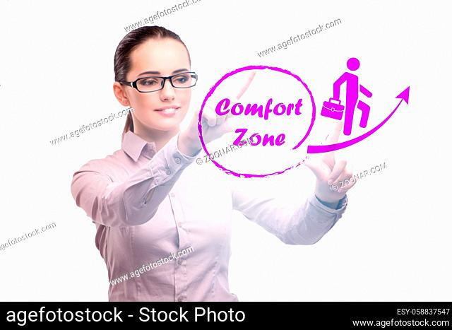 Businesswoman in concept of stepping out of comfort zone