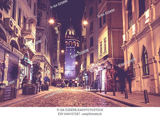 View of old Galata Tower, medieval landmark architecture in Istanbul, Turkey. ISTANBUL/TURKEY- MARCH 11, 2017