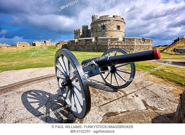 Cannon in front of Pendennis Castle Device Fort built in 1539 for Henry VIII, near Falmouth, Cornwall, England, United Kingdom