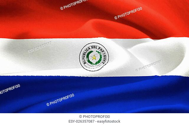 flag of Paraguay waving in the wind. Silk texture pattern