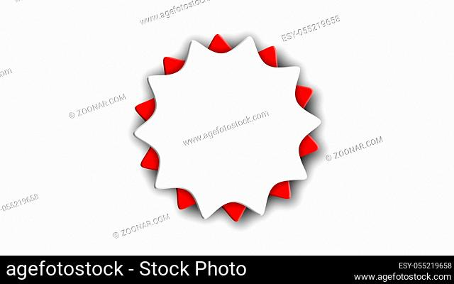 Abstract sticker with two gears on white, 3d rendering computer generated background