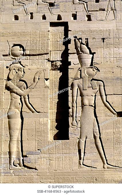 Egypt, Aswan, Nile River, Agilkia Island, Philae, Relief Carving