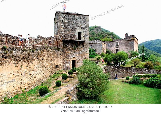 View on the tower and inside courtyard of the castle of the village of Brousse le Chateau, Aveyron, Occitanie, Languedoc, Roussillon, France