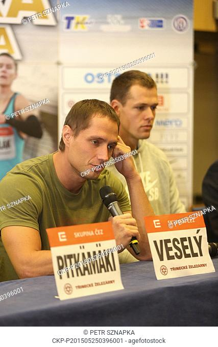 From left Czech athletes Vitezslav Vesely and Petr Frydrych speak with media during the IAAF World Challenge Ostrava Golden Spike athletic meeting, in Ostrava