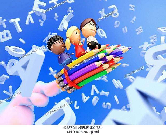 Funny school kids on a rocket made from pencils fly through the letters. Education concept. 3D illustration