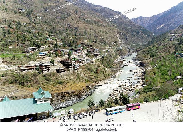 sutlej river and Rampur bus stand himachal pradesh india Asia