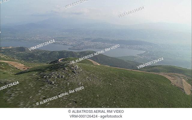 Aerial HD video Mitsikeli mountains revealing Ionnina