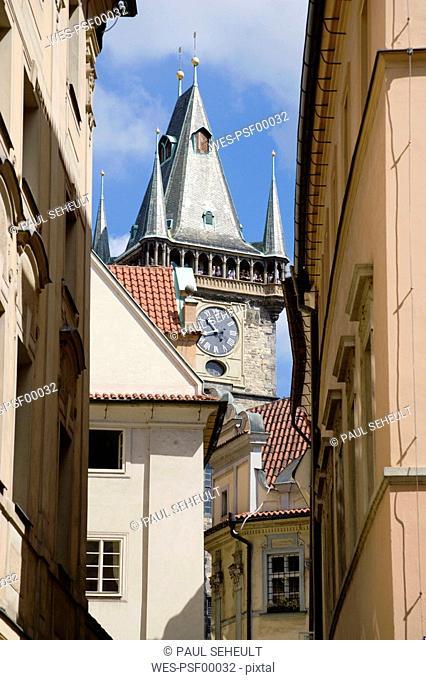 Czech Republic, Prague, Town Hall seen through archway