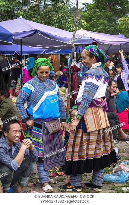 Colourful Bac Ha Sunday Market in the Flower Hmong minority village in Northern Vietnam
