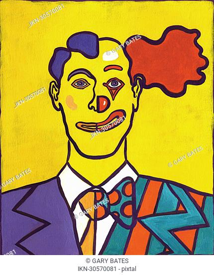 Portrait of a man half businessman half clown