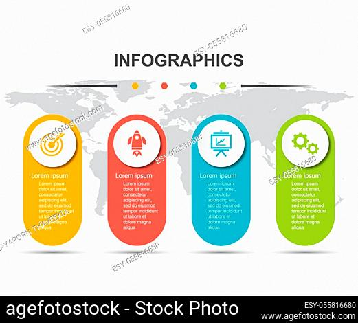 Infographic design template with 4 labels, stock vector