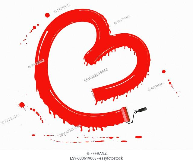 red paint forming a heart using a paint roller