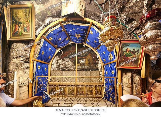 Jerusalem Bethlehem Israel. The grotto of the nativity birthplace of Jesus