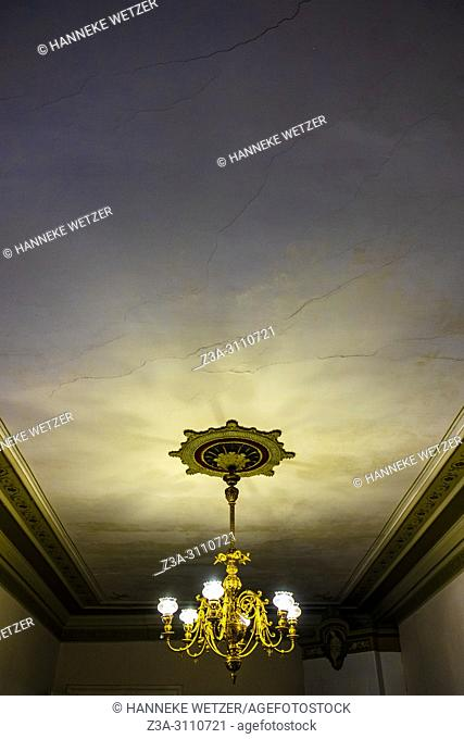 Old ceiling with chandelier in Riga, Latvia, Baltic States