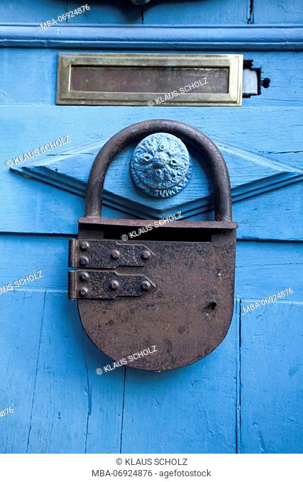 lock on a door in Dinan in the Rue de Petit Fort, close-up