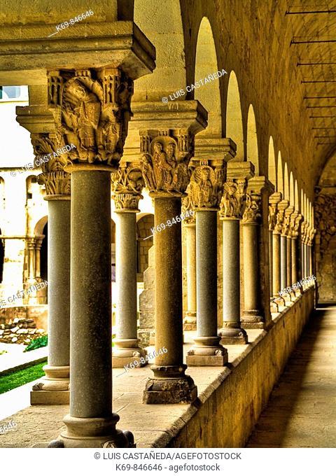 Romanesque Cloister. Santa Ana Church. Barcelona. Spain