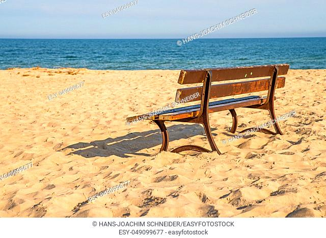bench on a lonesome beach of the Baltic Sea with blue sky