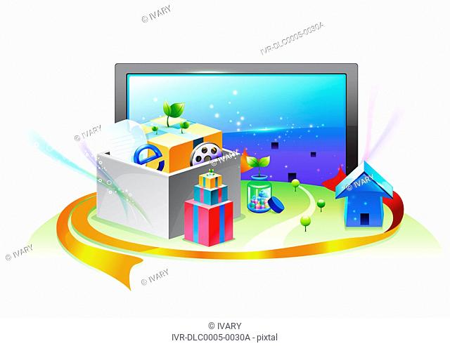 Illustration of television set, house, gifts and e-commerce