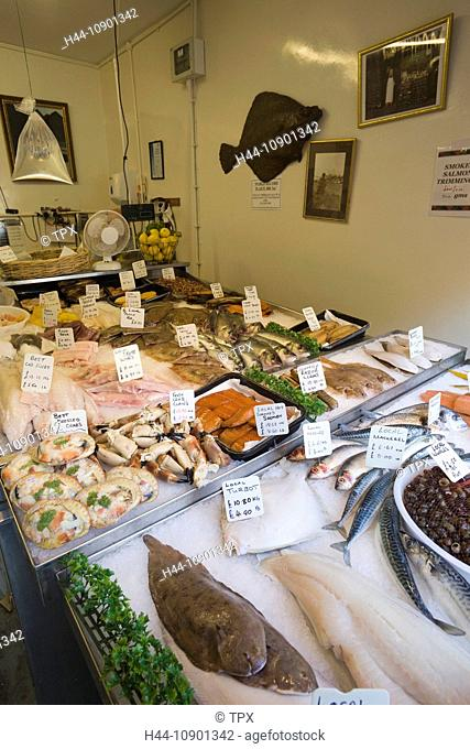 UK, United Kingdom, Europe, Great Britain, Britain, England, East Sussex, Hastings, The Stade, Fish Shop, Fish, Fresh Fish, Seafood, Food Display, Tourism