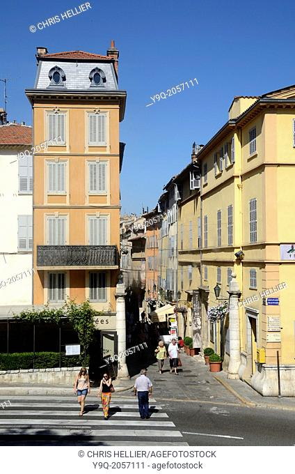 High Street & Tourists Visiting the Old Town Grasse Alpes-Maritimes France