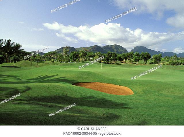 Hawaii, Kauai, Lihue, Kauai Lagoons Resort, Kiele Golf Course, sand trap, shadows, palms