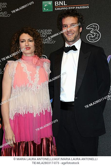 Ginevra Elkann and wife Giovanni Gaetani dell'Aquila d'Aragona during the red carpet of David di Donatello Awards, Rome, ITALY-27-03-2017
