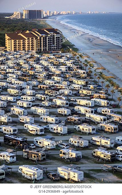 South Carolina, SC, Atlantic Ocean, Myrtle Beach, Myrtle Beach RV Travel Park, recreational vehicles, caravan park, campground, aerial, bird's-eye view