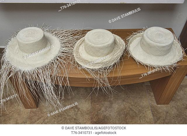 Weaving straw into Panama hats (paja toquilla), which actually come from Ecuador