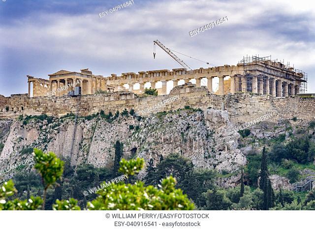 Temple Erechtheion Parthenon Acropolis Athens Greece. Parthenon created 438 BC symbol of ancient Greece