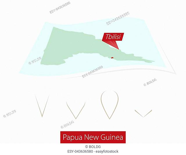 Curved paper map of Papua New Guinea with capital Port Moresby on Gray Background. Four different Map pin set. Vector Illustration