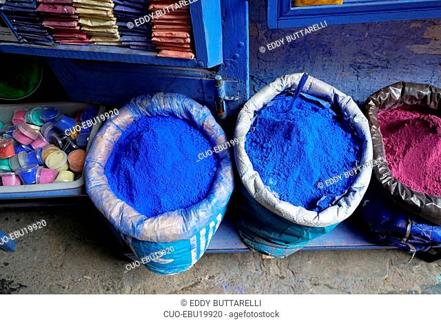 Blue natural pigment, Kasbah, Chefchaouen, the blue pearl, village northeast of Morocco, North Africa, Africa