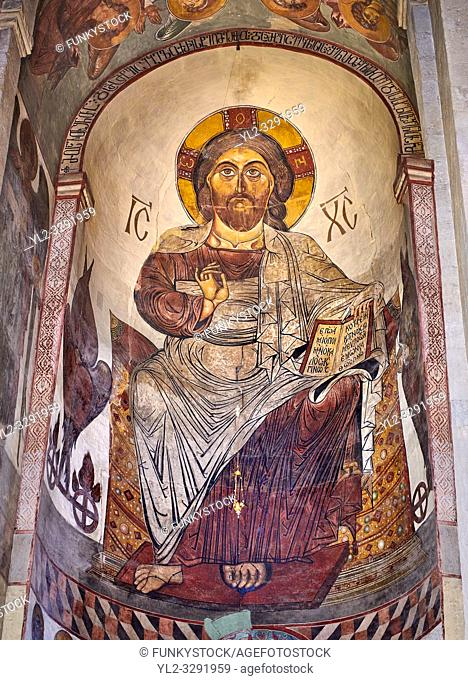 Pictures & images of the interior apse fresco depicting Christ Pantocrator. The Eastern Orthodox Georgian Svetitskhoveli Cathedral (Cathedral of the Living...