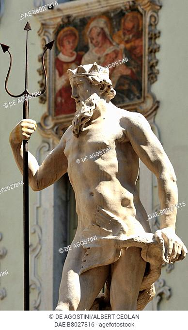 The statue of Neptune fountain, 1736, by Domenico Molin, in the old town of Rovereto, Lagarina Valley, Trentino-Alto Adige, Italy