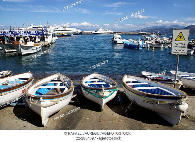 Island of Capri (Italy). Boats in the port of Marian Grande on the island of Capri