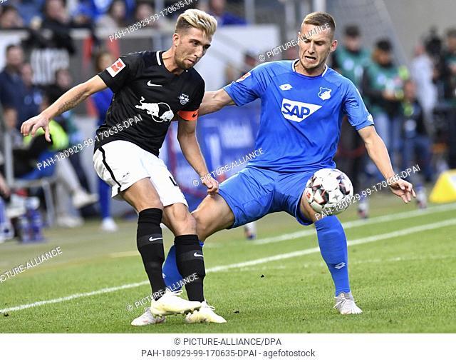 29 September 2018, Baden-Wuerttemberg, Sinsheim: Soccer: Bundesliga, 6th matchday, 1899 Hoffenheim - RB Leipzig in the Wirsol Rhein-Neckar-Arena