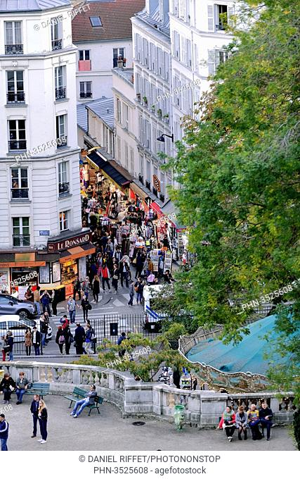 France, Paris, hill of Montmartre, shopping street at the foot of the Butte Montmartre