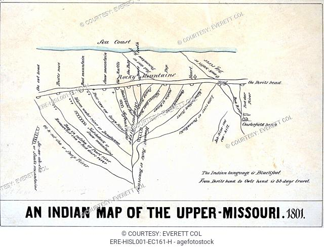 1801 Indian map of the Upper-Missouri