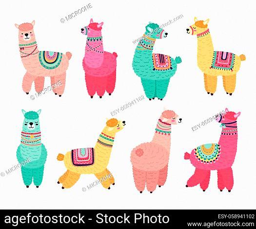 Cute llama. Funny alpaca, cute llamas mexican wildlife characters. Creative tribal wool animals, isolated cartoon nursery pets vector set