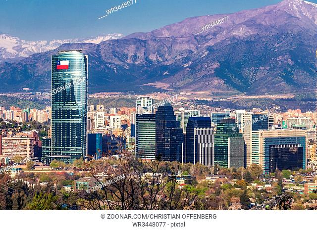Skyline of Santiago de Chile with modern office buildings in 2010