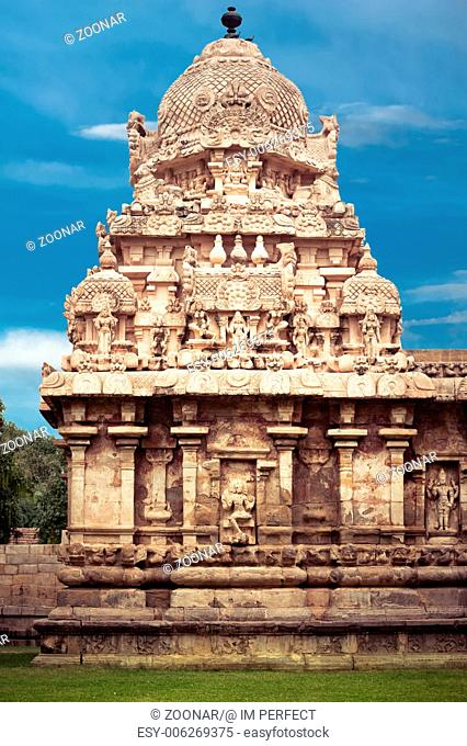 Gangaikonda Cholapuram Temple over blue sky. Great architecture of Hindu Temple dedicated to Shiva. South India, Tamil Nadu, Thanjavur (Trichy)
