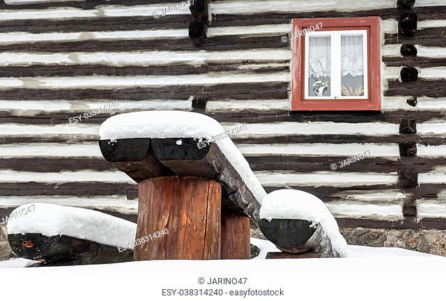 Wooden cottage in village Vlkolinec at Slovakia