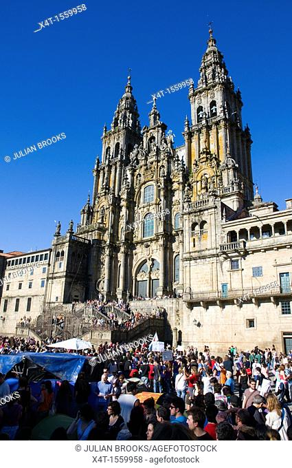 Crowds in Santiago De Compostela demonstrating against the Spanish Government