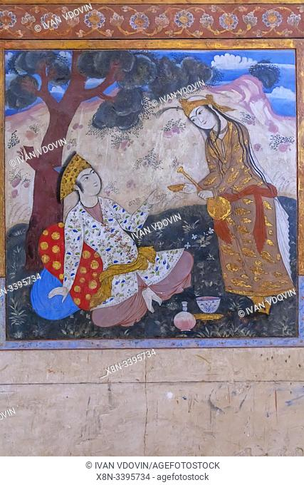 Wall painting, Chehel Sotoun, garden palace, interior, Isfahan, Isfahan Province, Iran