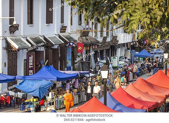 Laos, Luang Prabang, Sisavangvong Road, Handicraft Night Market, high angle view, late afternoon