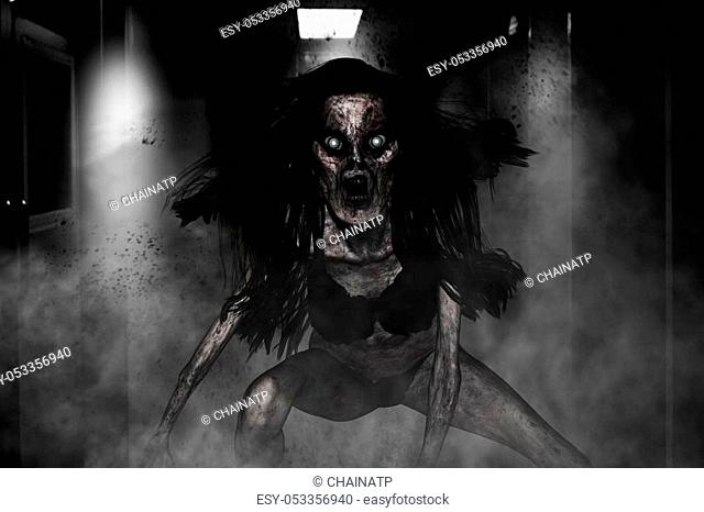 3d illustration of scary ghost woman in haunted house, Horror background, mixed media